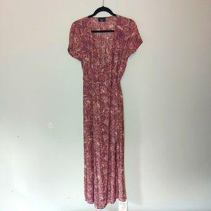 Vici Printed Wrap Maxi Dress Purple M